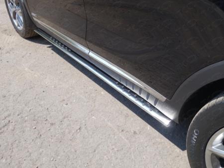 Пороги овальные с проступью 75х42 мм Kia Sorento 2015